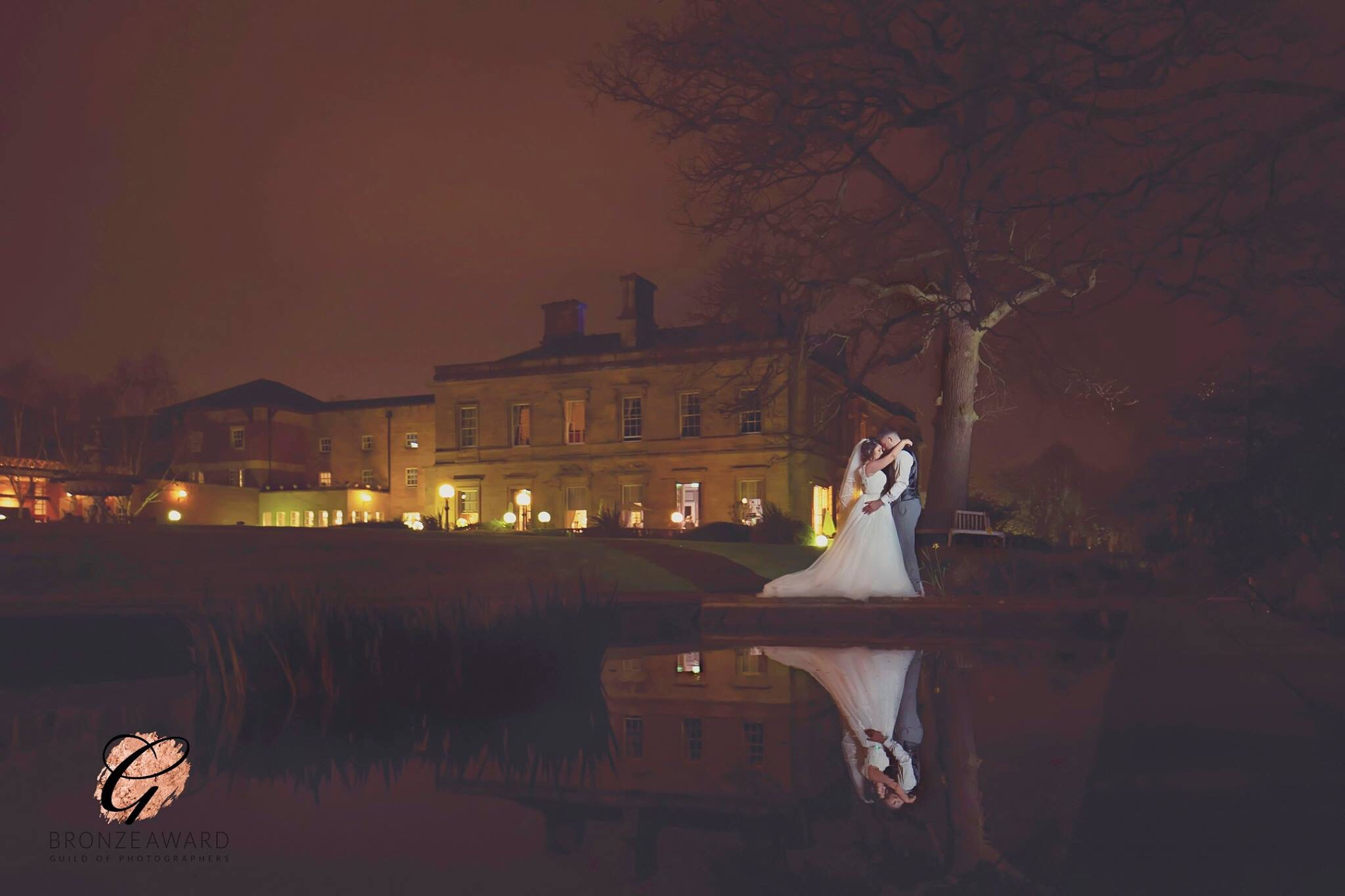Oulton Hall at Night West Yorkshire Wedding Photography by Ben Cumming Photography