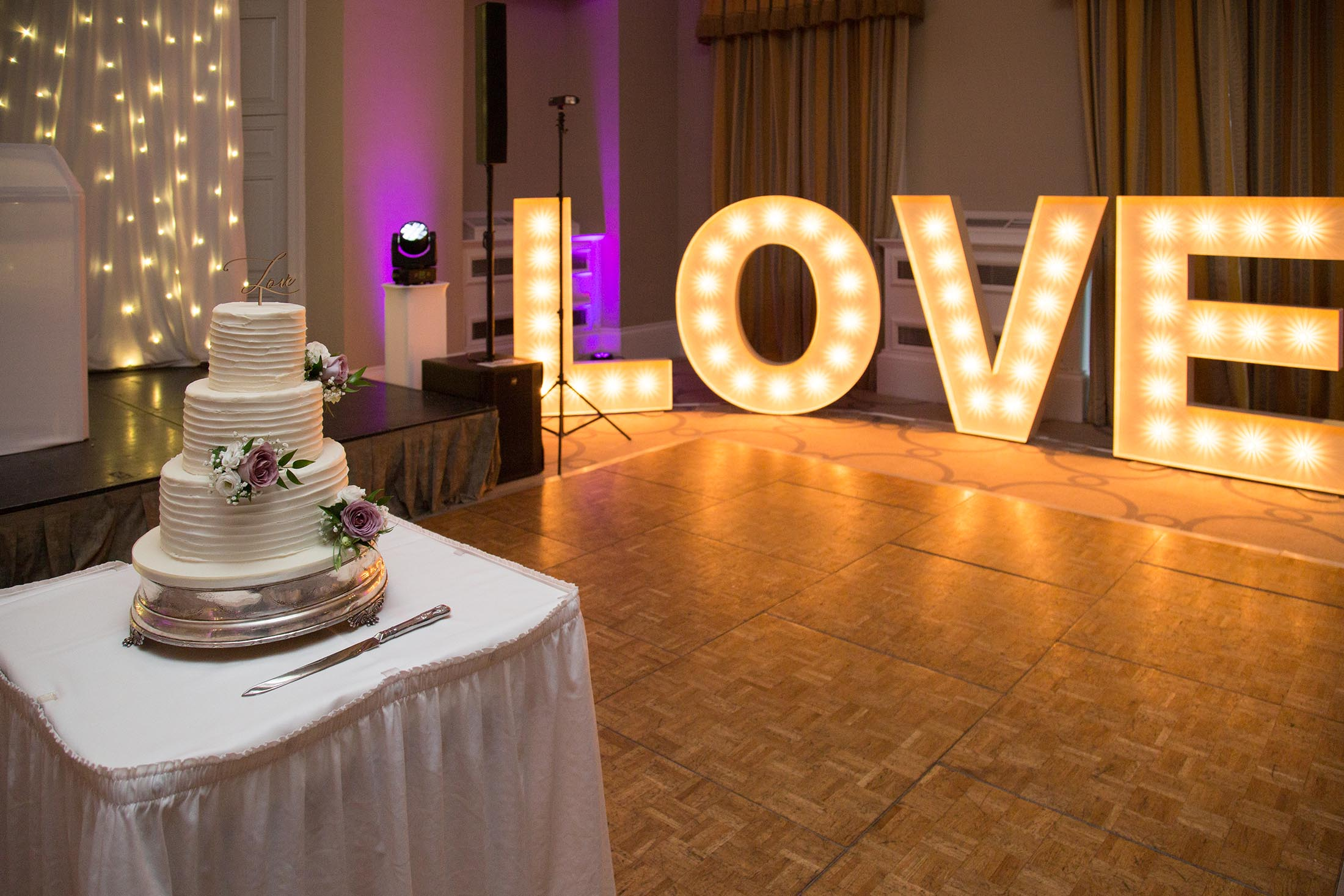 The Wedding cake and love letters at Rudding Park