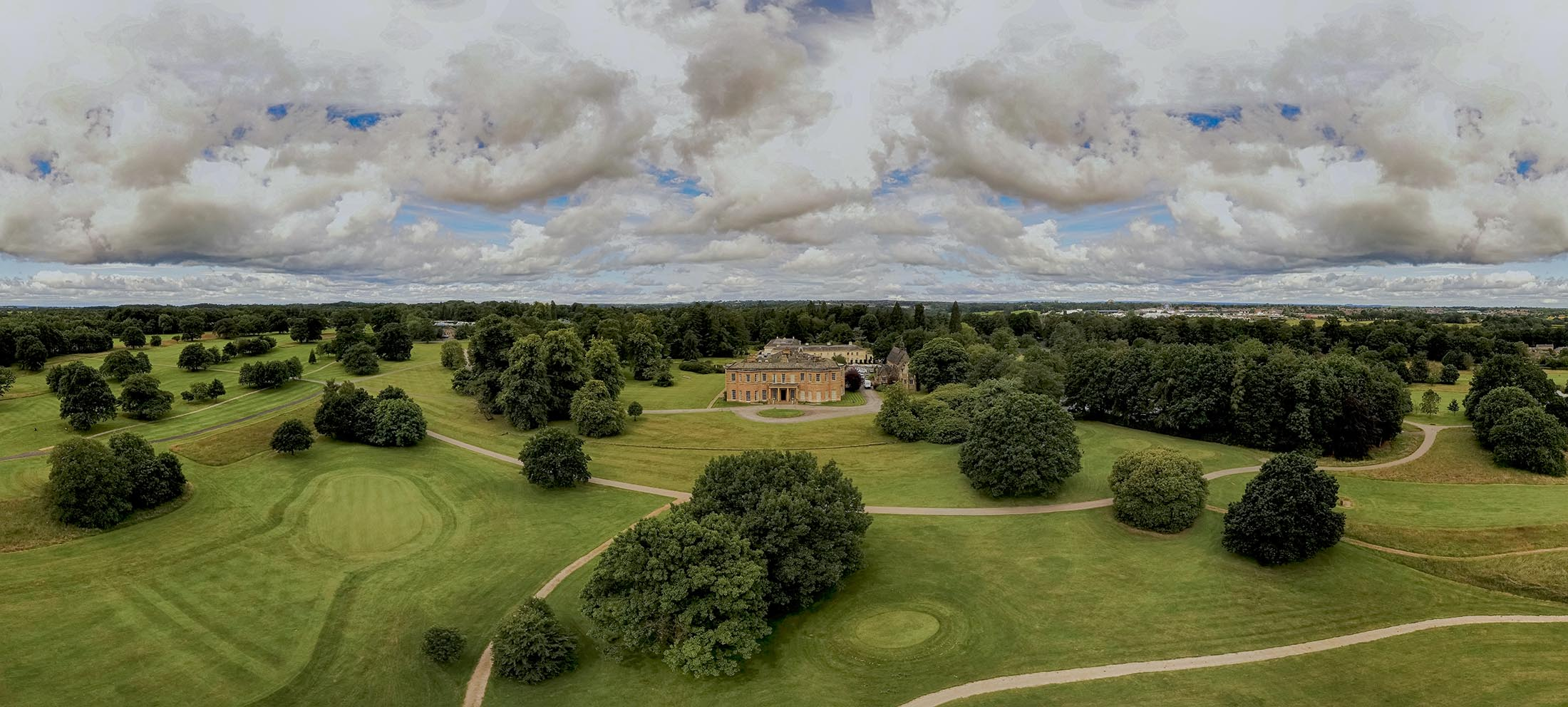 A drone shot of the venue at Rudding Park