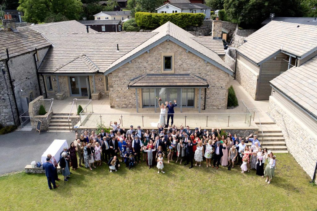 Drone Wedding Group Photo at the Gamekeepers Inn Threshfield