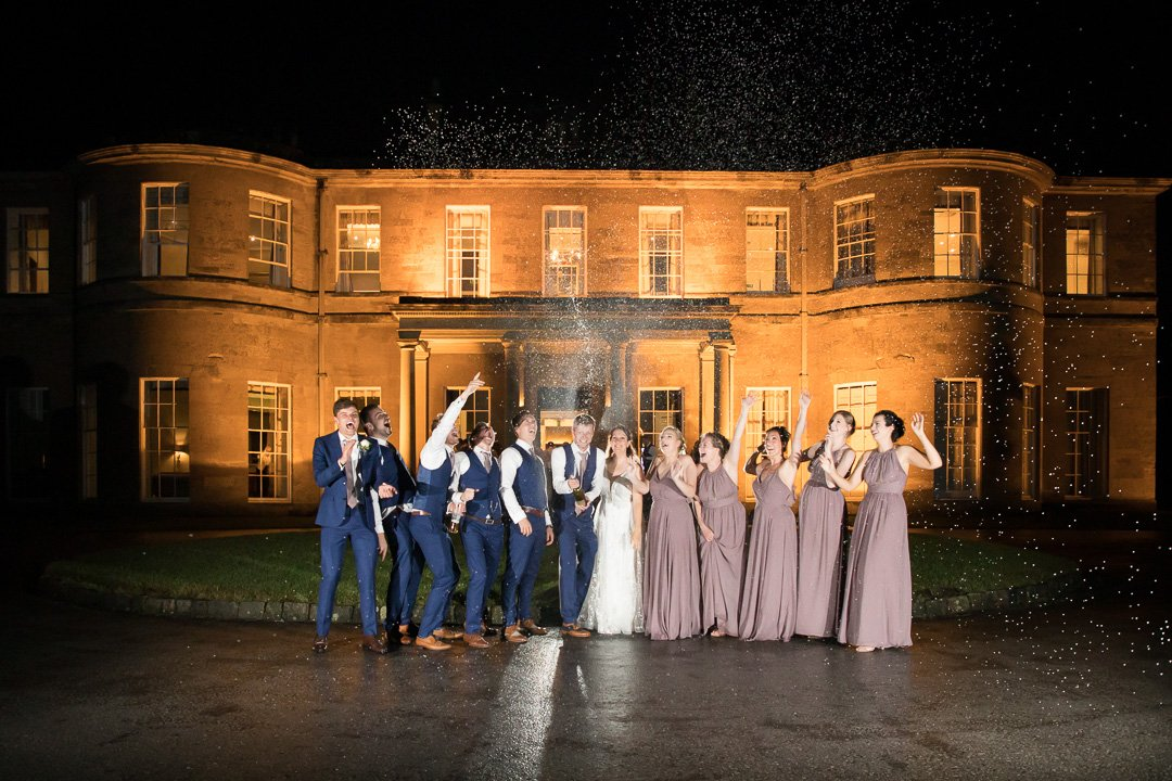 A Champagne shot with the bridal party at Rudding Park