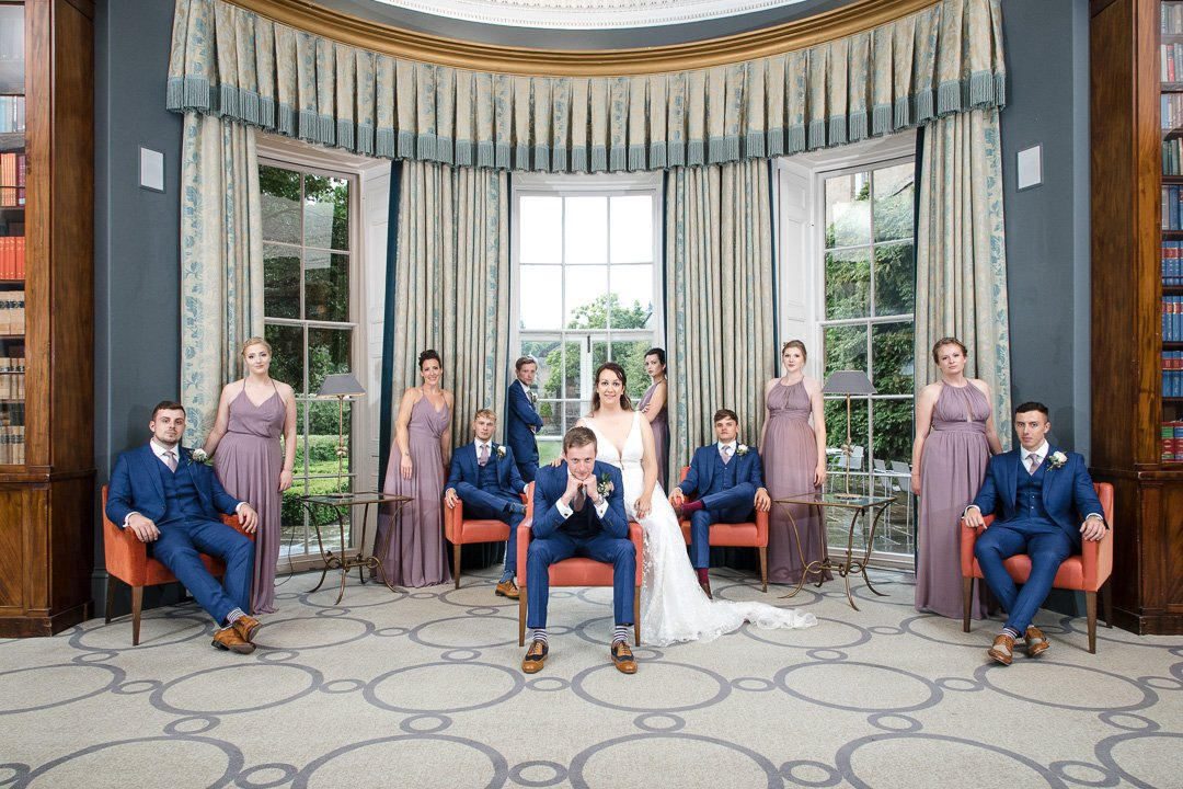 Rudding Park wedding photography - The Bridal Party pose for a picture in Rudding Park