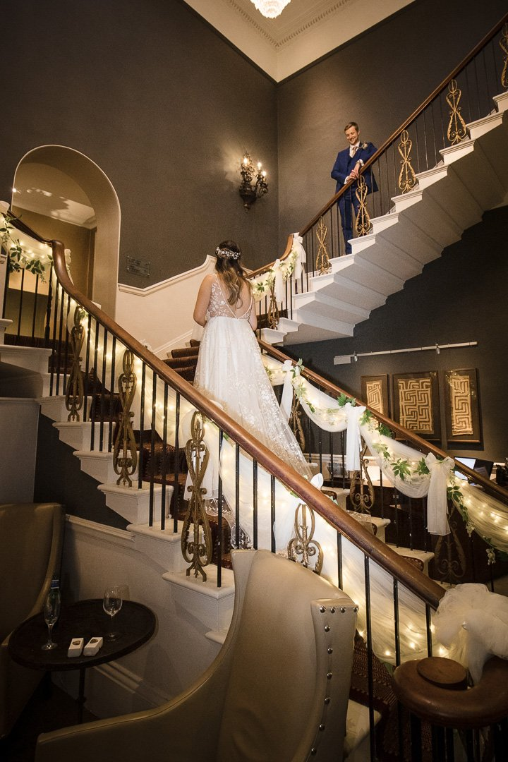 Bride and Groom on the Stairs at Rudding Park