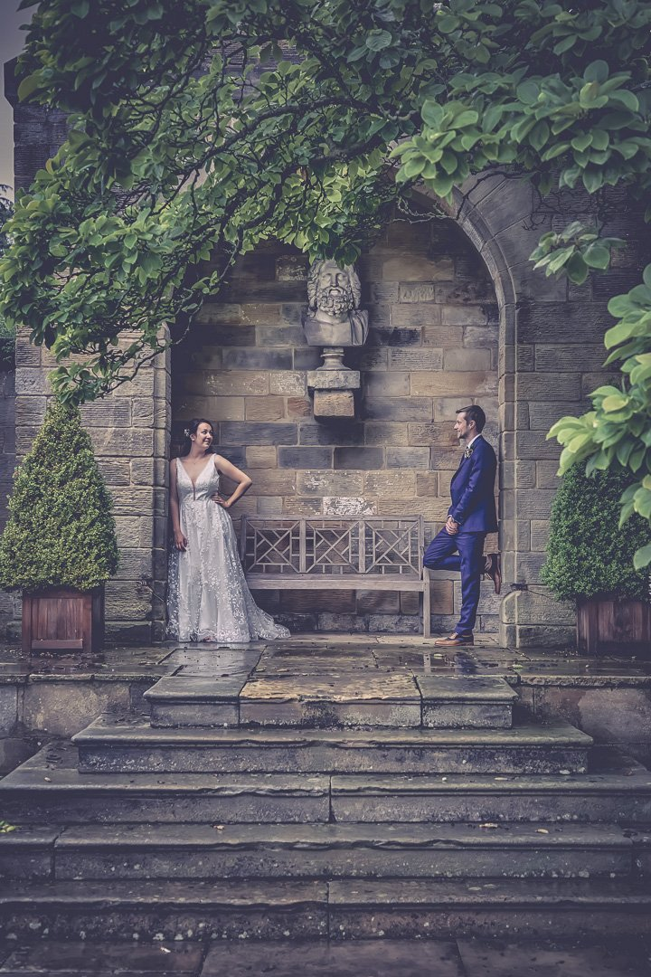 Bride and groom portrait at Rudding Park