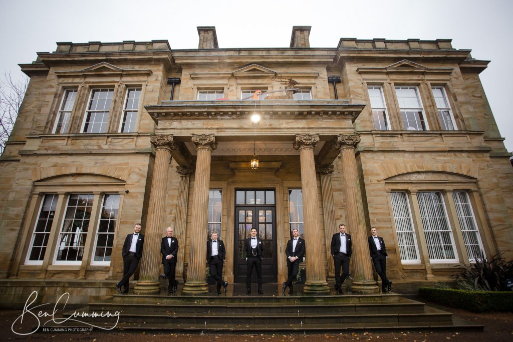The Groomsmen outside at Oulton Hall