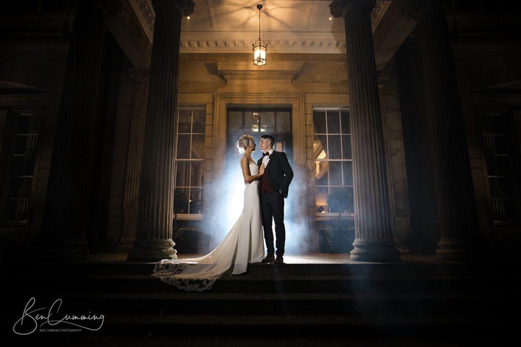 Bride and groom twilight wedding photo at oulton hall leeds