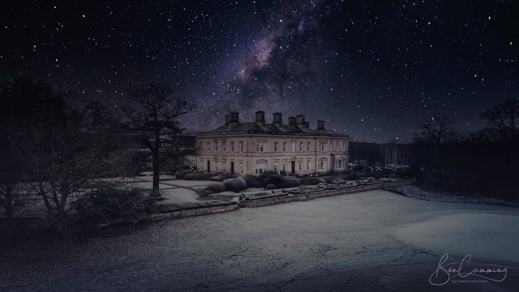 Wedding venue drone shot oulton hall at night