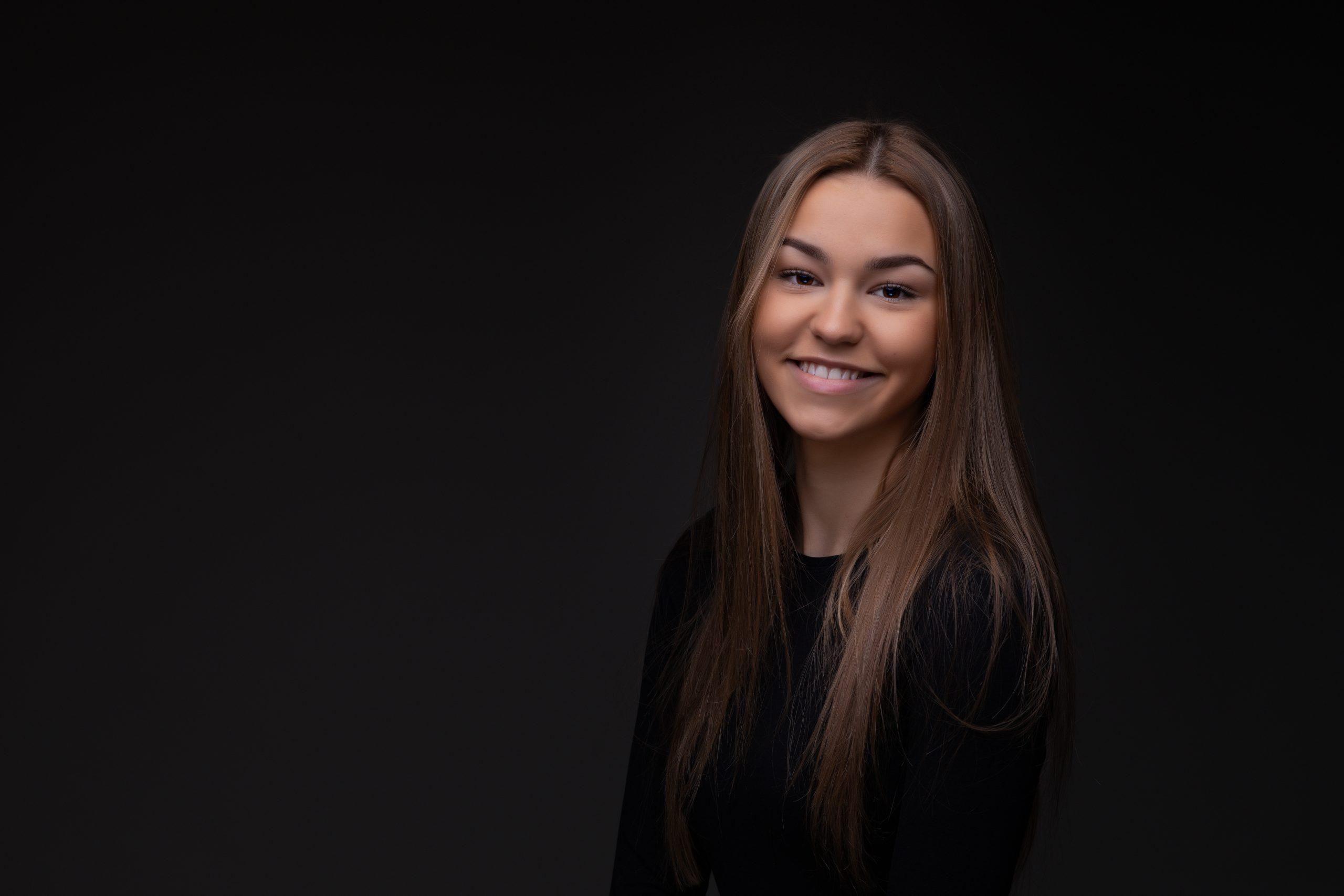 Smiling girl in studio Portrait